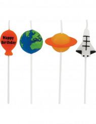 4 Kerzen mit Weltall Motiven