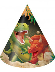 8 Partyhüte Dinosaurier