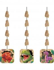 3 Dinosaurier Hänge-Dekos für den Kindergeburtstag