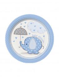 8 kleine blaue Elefant Pappteller 18 cm