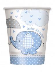 8 Pappbecher Elefantenmotiv blau 250 ml