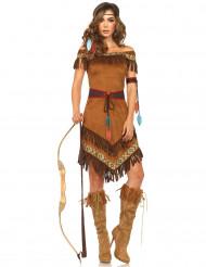 Indianerin-Kostüm für Damen Wildleder braun