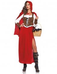 Sexy Rotkäppchen-Kostüm für Damen braun-weiss-rot