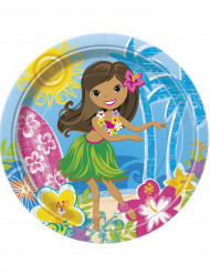 8 Pappteller - Hula-Hawaii Strand