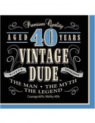 16 Papierservietten Vintage zum 40. Geburtstag