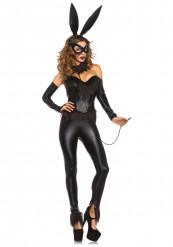 Sexy Häschen-Kostüm mit Maske für Frauen schwarz