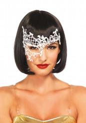 Venezianische Augenmaske weiß mit Spitze