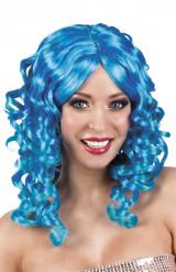 Blaue Lockenperücke Damen