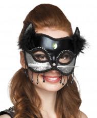Katzen Halbmaske in silbern und schwarz für Damen