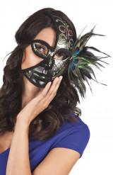 Venezianische Halbmaske mit Pfauenfedern