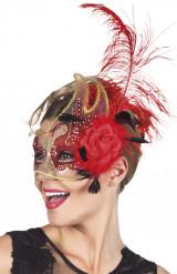 Venezianische Maske in rot und transparent für Erwachsene
