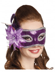 Venezianische Maske in violett mit Blumenfeder