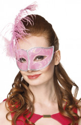 Venezianische Augenmaske hellrosa für Damen