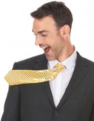Goldene Krawatte mit Pailletten für Erwachsene