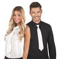 Weiße Krawatte mit transparenten Plättchen für Erwachsene