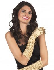 Lange, goldfarbene, glänzende Damenhandschuhe