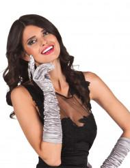 Lange, glänzende, silberfarbene Handschuhe für die Dame