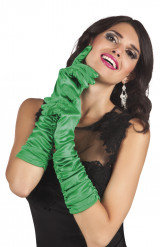 Lange Handschuhe aus grünem Satin für Frauen