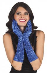 Lange blaue Satin-Handschuhe für Damen