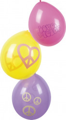 6 Hippie Flower Power Luftballons