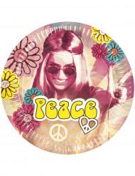 6 Pappteller Hippie Flower Power