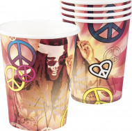 6 Becher aus Karton im  Hippie Flower Power Look