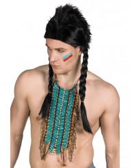 Lange blaue Indianerhalskette für Erwachsene