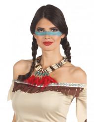Rote Indianer Halskette mit Federn für Frauen