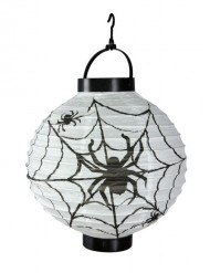 Halloween LED-Laterne mit Spinnenmotiv 20 cm