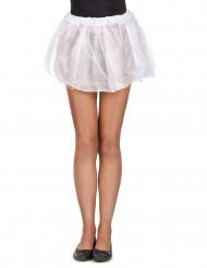Weißer Tüllrock mit doppelter Stofflage für Damen