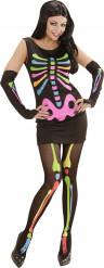 Halloween-Skelettkostüm für Frauen in fluoreszierendem Design