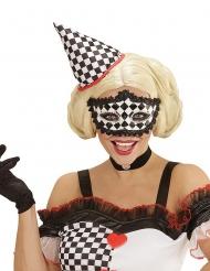 Pierrot Augenmaske schwarz-weiß