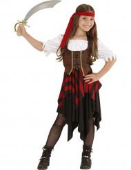 Piratin-Mädchen-Kostüm mit Korsett bunt