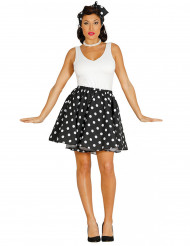50er-Jahre-Kostüm für Damen Rock Tuch schwarz-weiß gepunktet