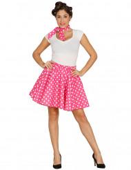 Rock und rosa Tupfenschal 50s Damen
