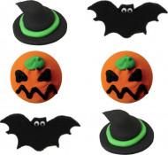 6 Mini Dessert Dekorationen aus Zucker Halloween
