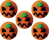 5 Zucker-Dekorationen - Kürbis-Orange - Halloween