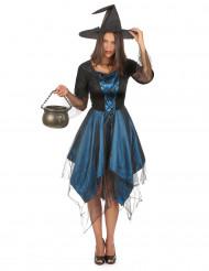 Kostüm blaue Hexe für Damen