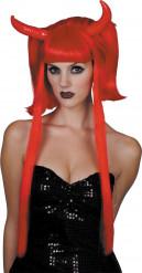 Teufelshörner Perücke in rot für Damen Halloween