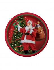 8 kleine Weihnachtsmann Pappteller
