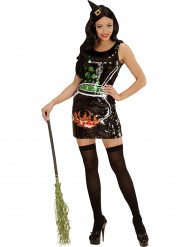 Halloween Hexen-Kostüm mit Pailletten und Kessel-Design für Frauen