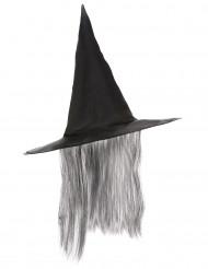 Schwarzer Hexen Hut mit grauem Kunsthaar Halloween