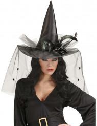 Schwarzer Hexenhut mit Federn für Damen Halloween