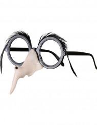 Brille mit Hexennase und Augenbrauen
