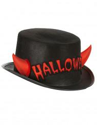 Halloween-Zylinder mit roten Hörnern