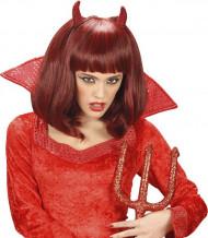 Rote halblange Dämon-Perücke für Damen