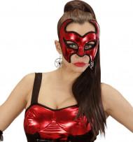 Rote Dämonen-Maske mit Pailletten für Damen - Halloween
