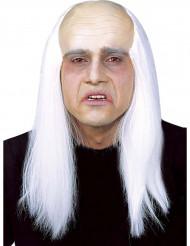Glatze Perücke mit weißen Haaren für Erwachsene
