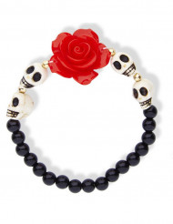 Skelettarmband mit roter Rose