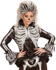 Halloween-Bluse mit aufgedrucktem Skelett für Frauen